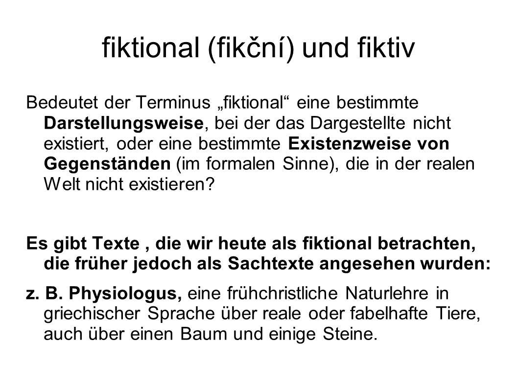 fiktional (fikční) und fiktiv