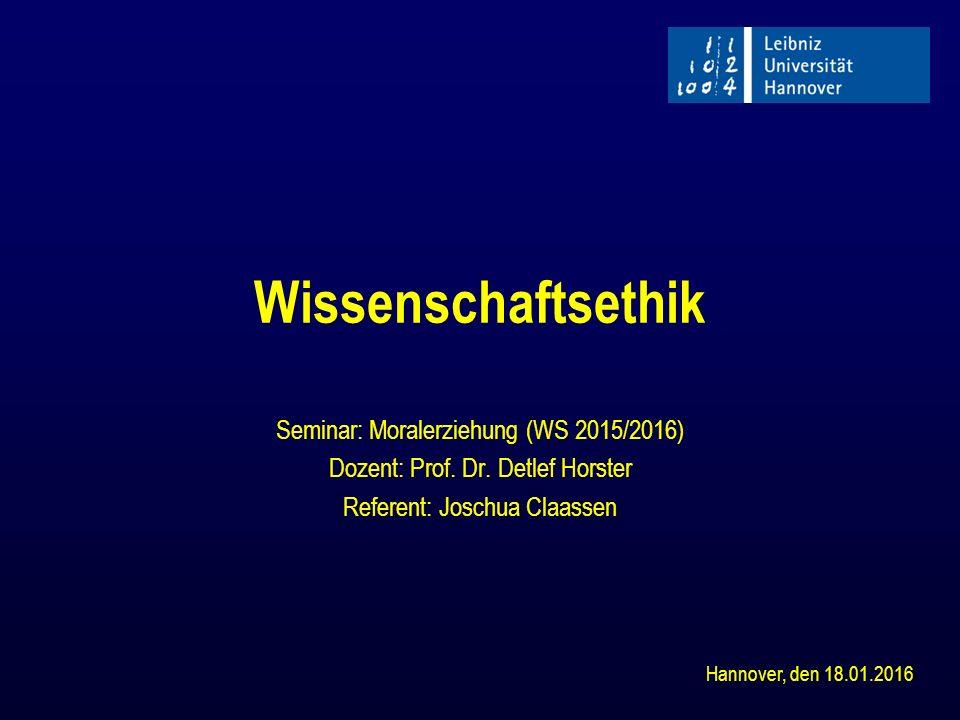 Wissenschaftsethik Seminar: Moralerziehung (WS 2015/2016)
