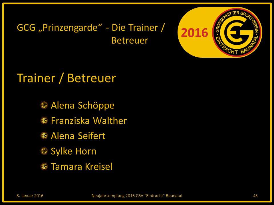 """GCG """"Prinzengarde - Die Trainer / Betreuer"""