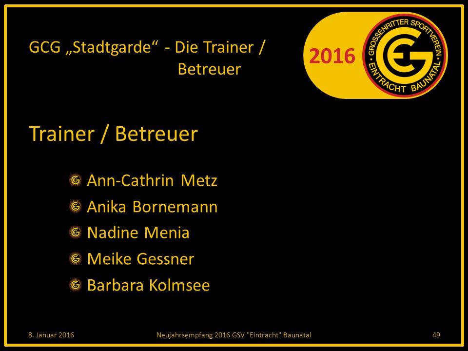 """GCG """"Stadtgarde - Die Trainer / Betreuer"""