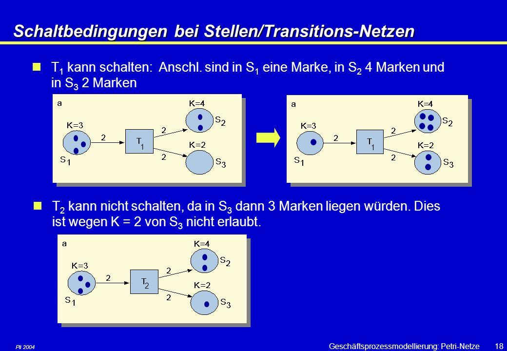 Schaltbedingungen bei Stellen/Transitions-Netzen