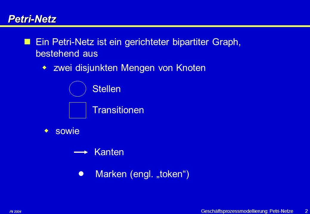 Petri-Netz Ein Petri-Netz ist ein gerichteter bipartiter Graph, bestehend aus. zwei disjunkten Mengen von Knoten.