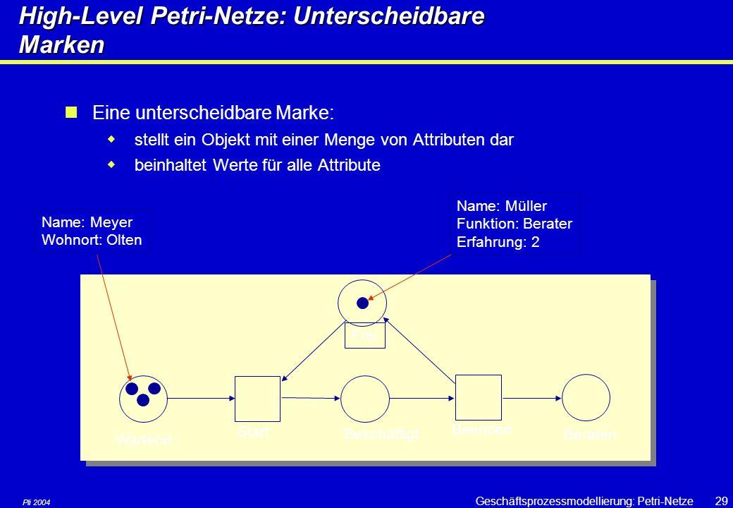 High-Level Petri-Netze: Unterscheidbare Marken