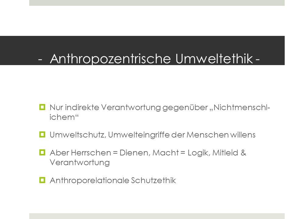 - Anthropozentrische Umweltethik -