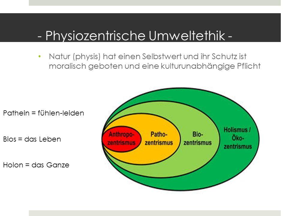 - Physiozentrische Umweltethik -