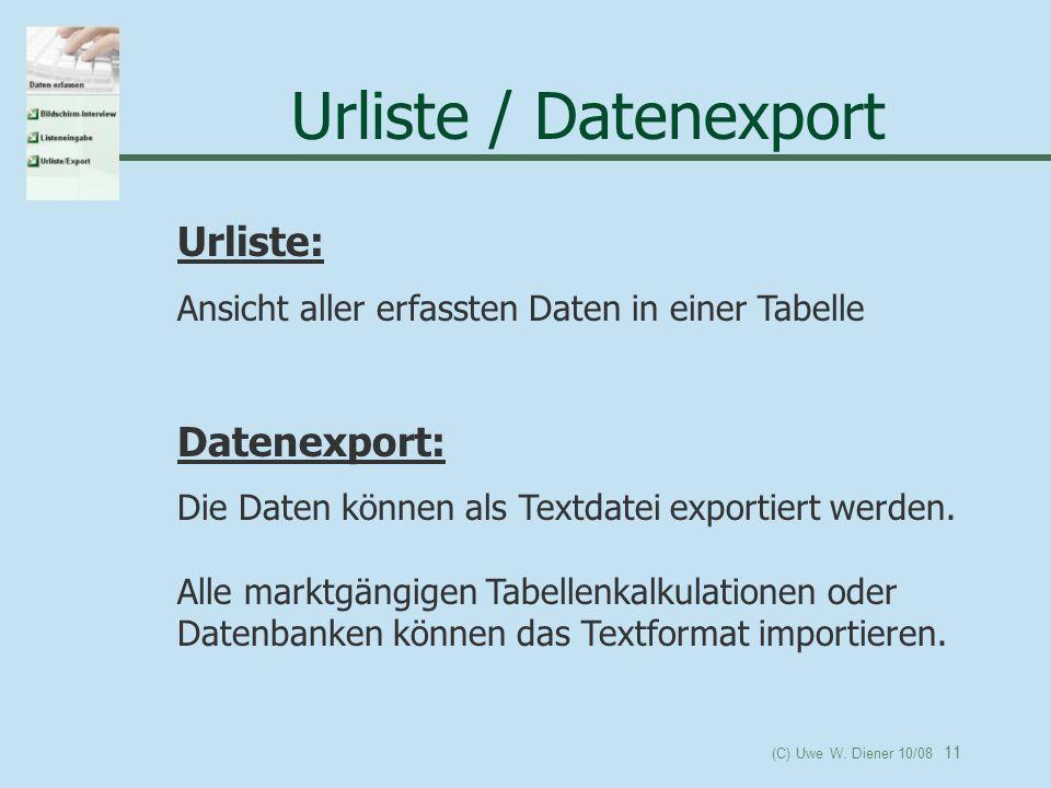 Urliste / Datenexport Urliste: Datenexport: