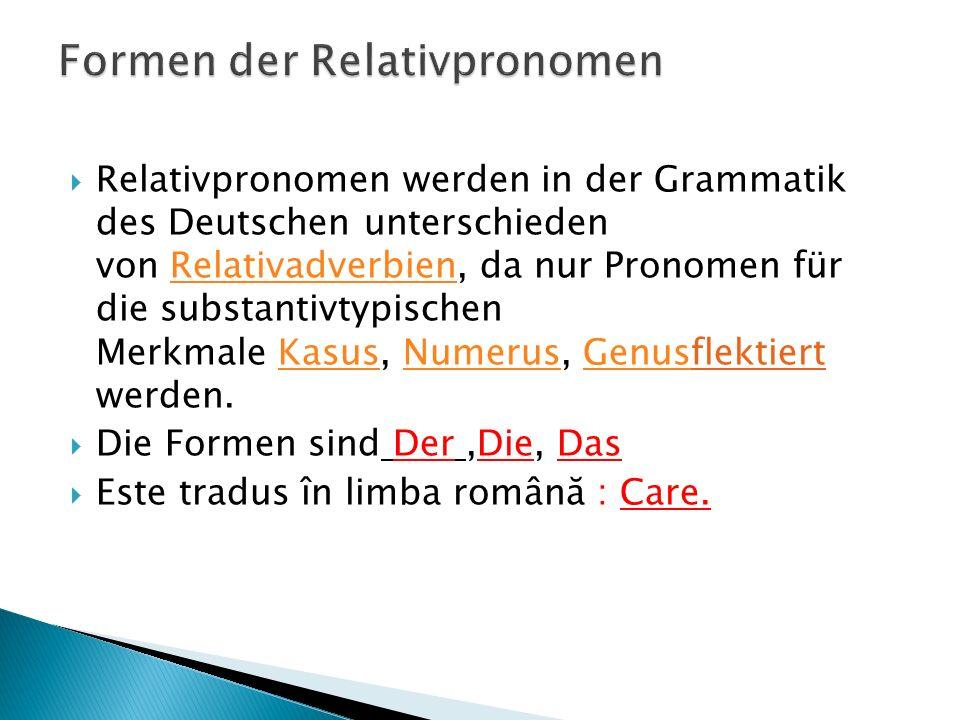 Formen der Relativpronomen