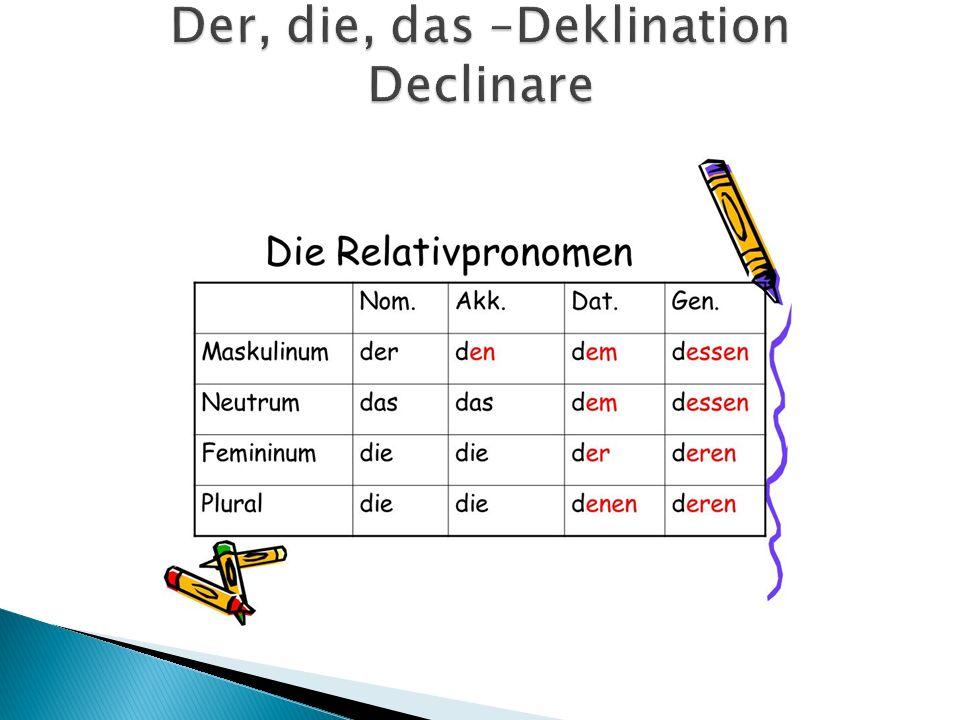 Der, die, das –Deklination Declinare