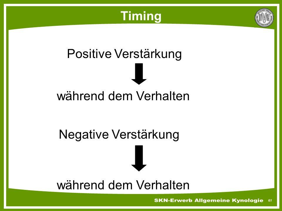 Timing Positive Verstärkung während dem Verhalten Negative Verstärkung während dem Verhalten