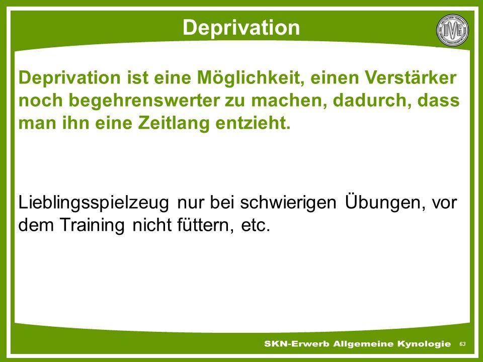 Deprivation Deprivation ist eine Möglichkeit, einen Verstärker noch begehrenswerter zu machen, dadurch, dass man ihn eine Zeitlang entzieht.