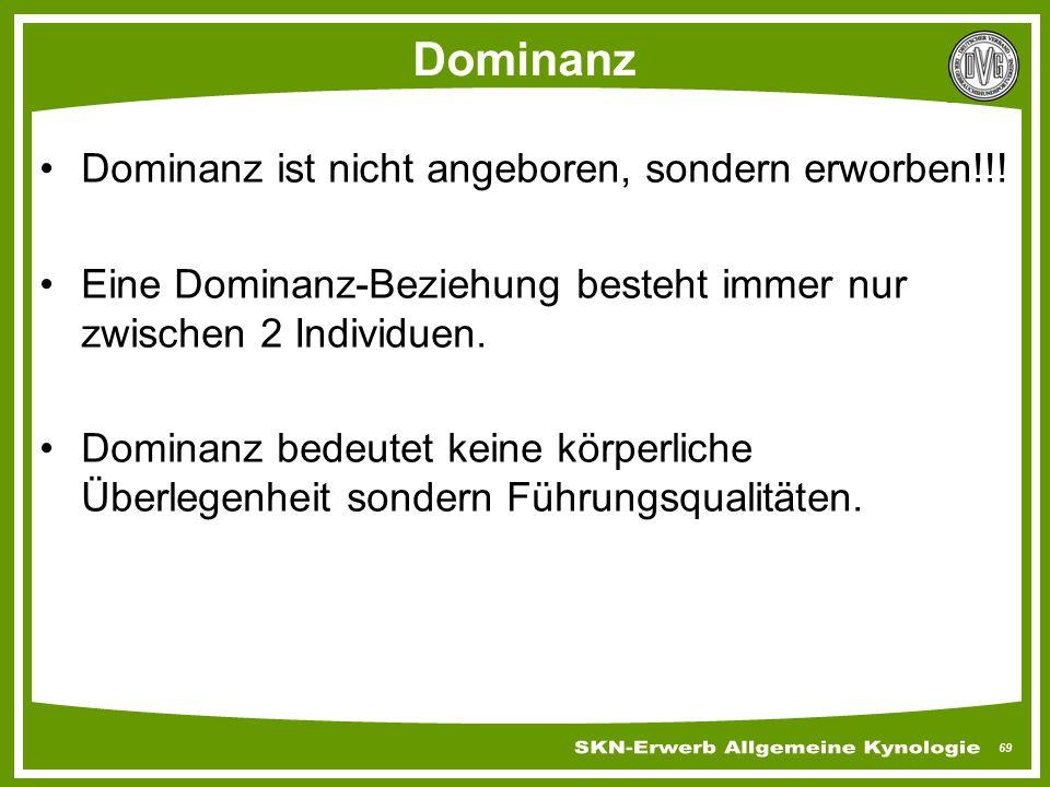 Dominanz Dominanz ist nicht angeboren, sondern erworben!!!