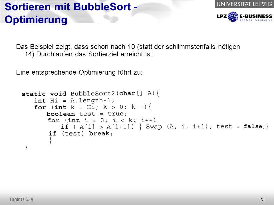 Sortieren mit BubbleSort - Optimierung