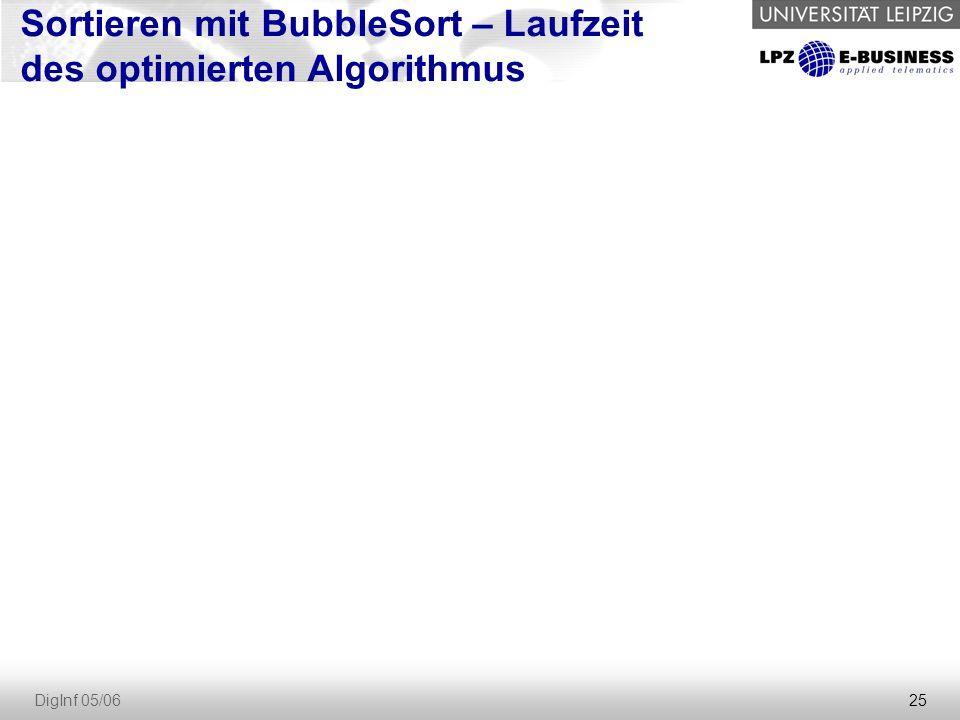 Sortieren mit BubbleSort – Laufzeit des optimierten Algorithmus