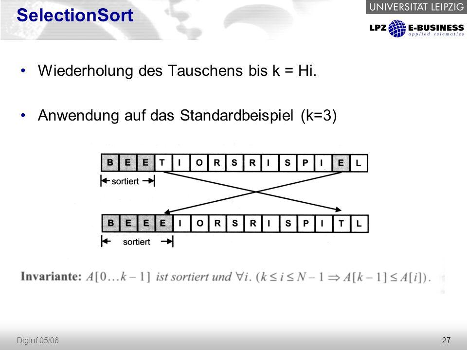 SelectionSort Wiederholung des Tauschens bis k = Hi.