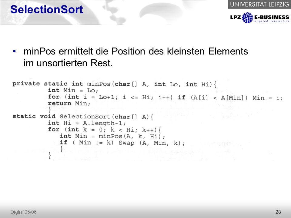 SelectionSort minPos ermittelt die Position des kleinsten Elements im unsortierten Rest.