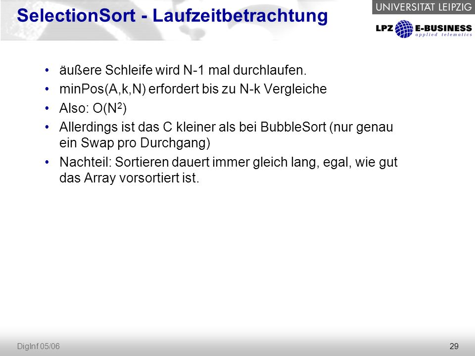 SelectionSort - Laufzeitbetrachtung