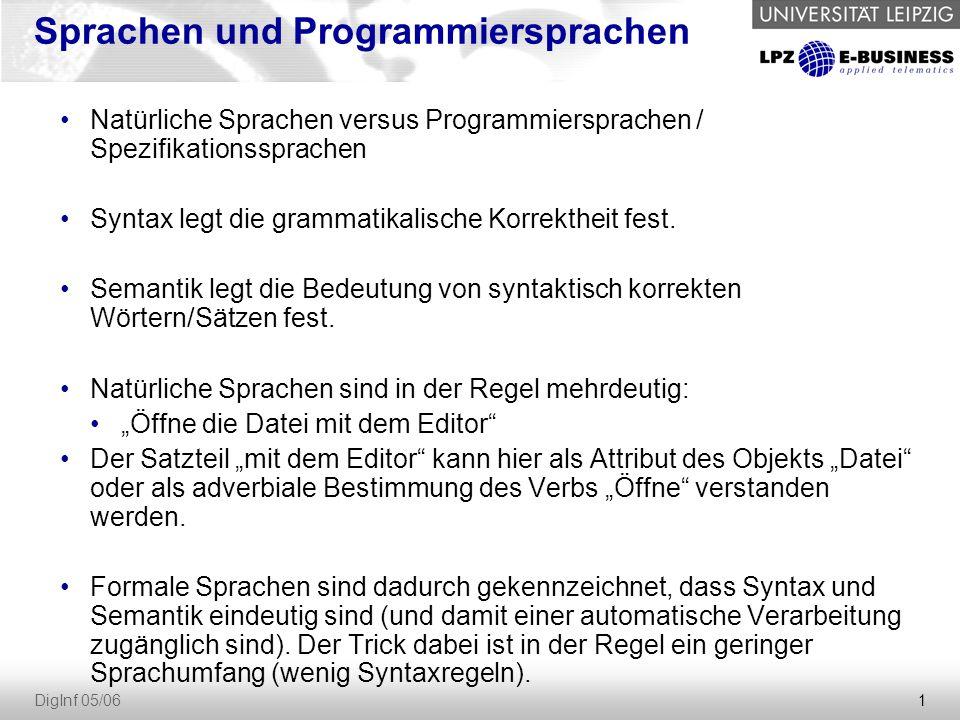 Sprachen und Programmiersprachen