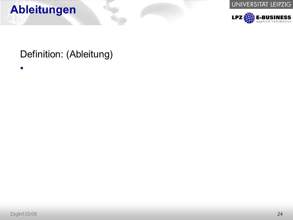 Ableitungen Definition: (Ableitung) DigInf 05/06