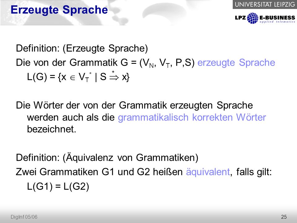 Erzeugte Sprache Definition: (Erzeugte Sprache)