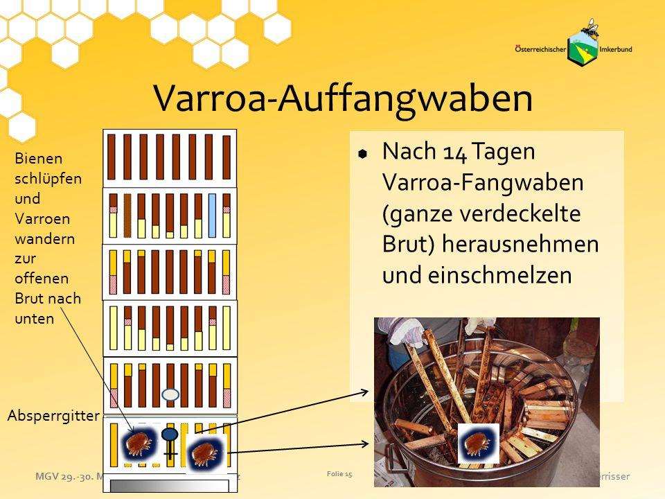 Varroa-Auffangwaben Nach 14 Tagen Varroa-Fangwaben (ganze verdeckelte Brut) herausnehmen und einschmelzen.