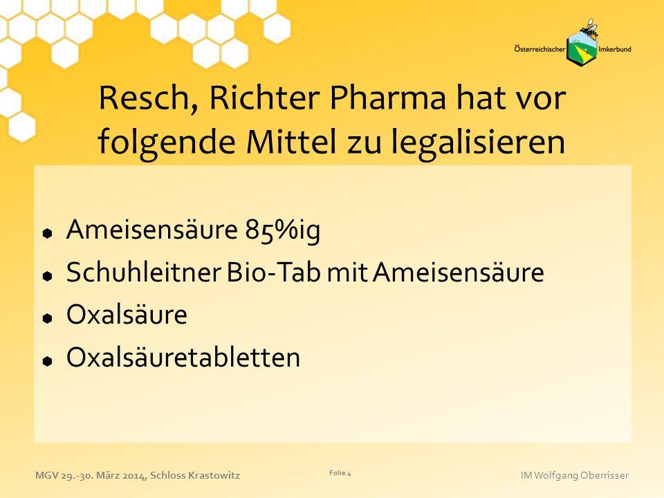 Resch, Richter Pharma hat vor folgende Mittel zu legalisieren