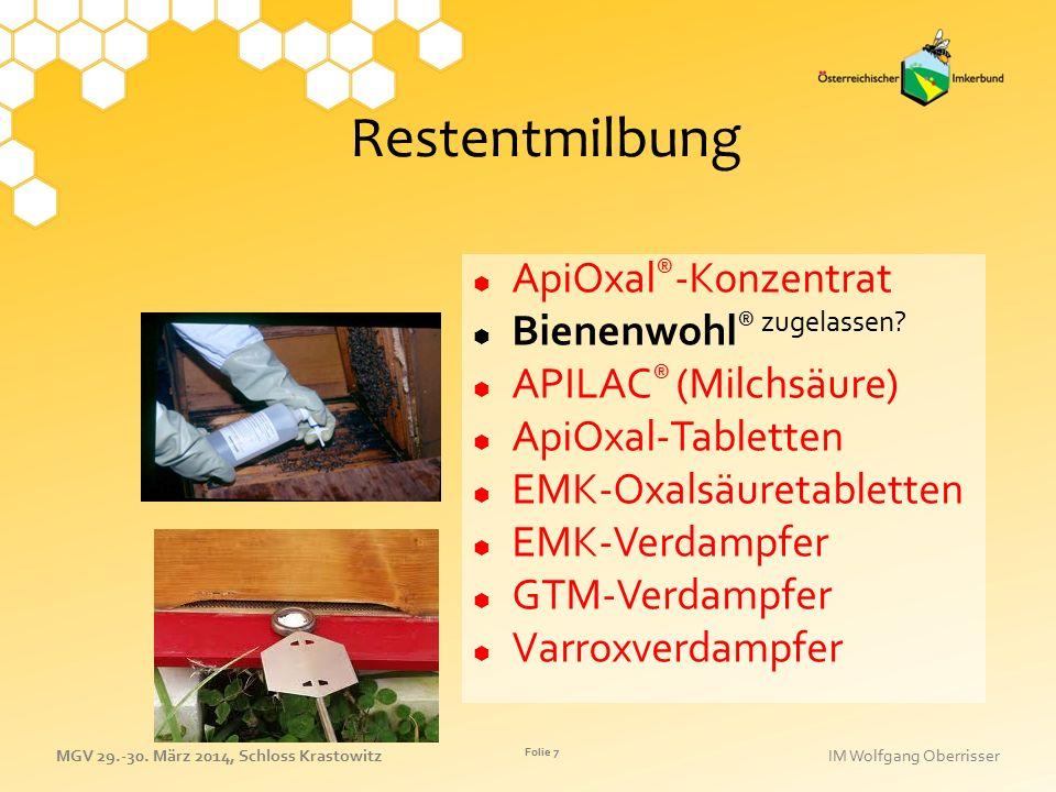 Restentmilbung ApiOxal®-Konzentrat Bienenwohl® zugelassen