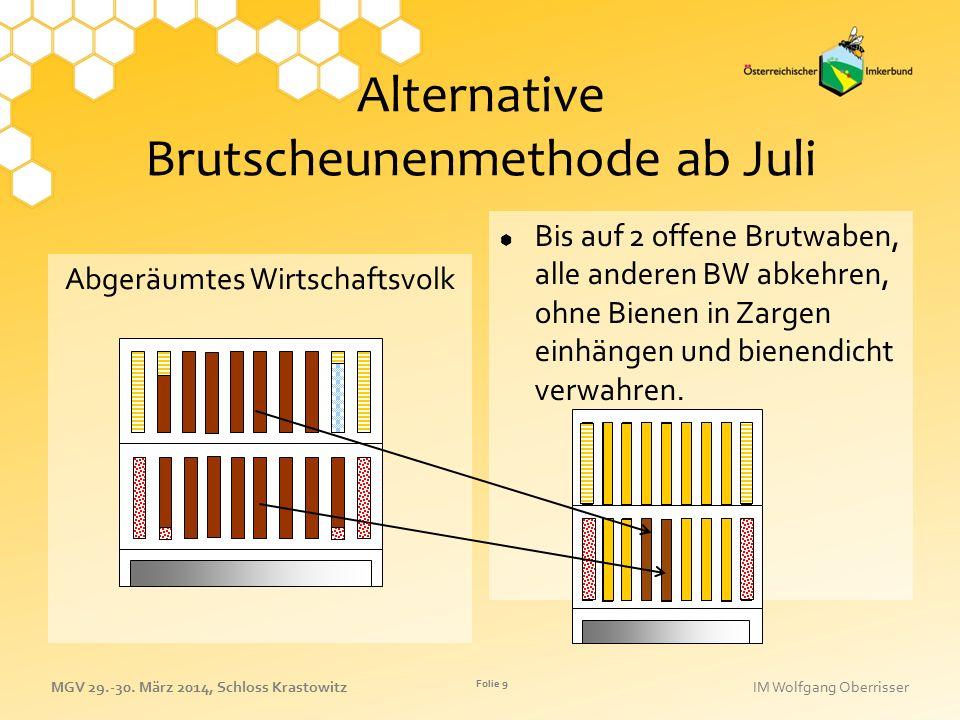 Alternative Brutscheunenmethode ab Juli