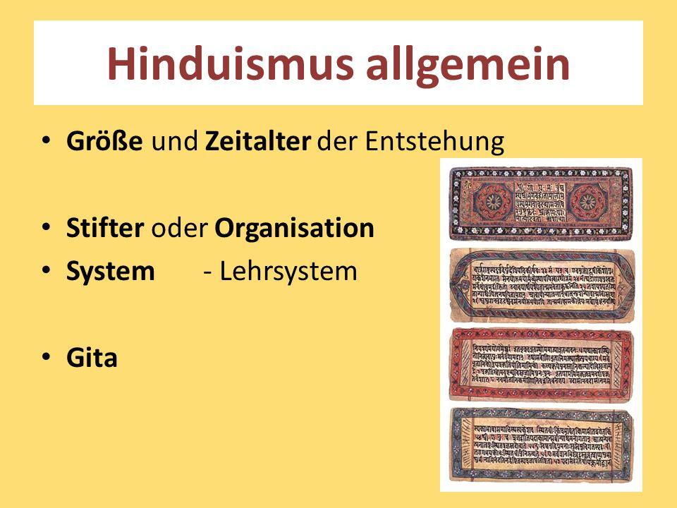 Hinduismus allgemein Größe und Zeitalter der Entstehung