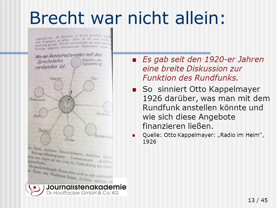 Brecht war nicht allein: