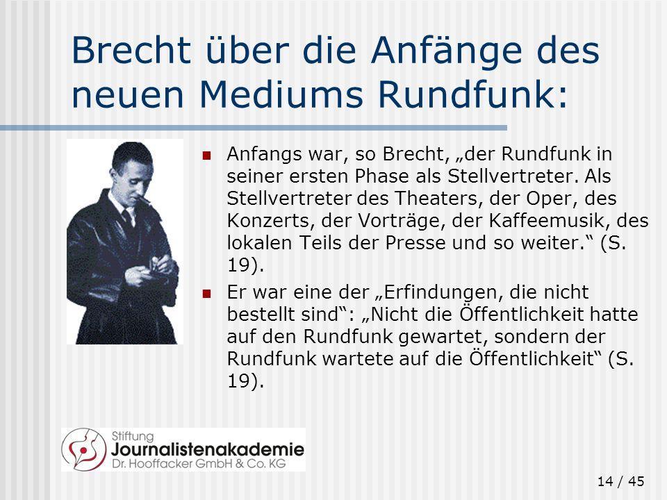 Brecht über die Anfänge des neuen Mediums Rundfunk: