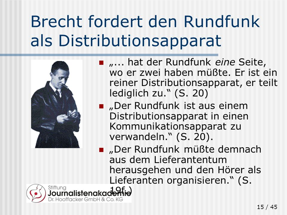 Brecht fordert den Rundfunk als Distributionsapparat