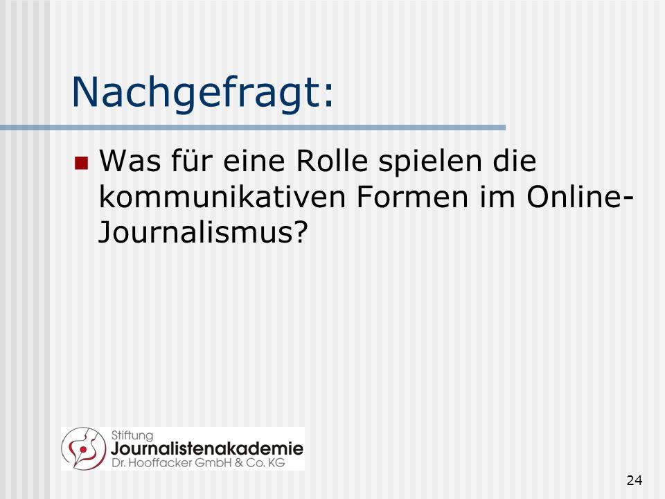 Nachgefragt: Was für eine Rolle spielen die kommunikativen Formen im Online-Journalismus