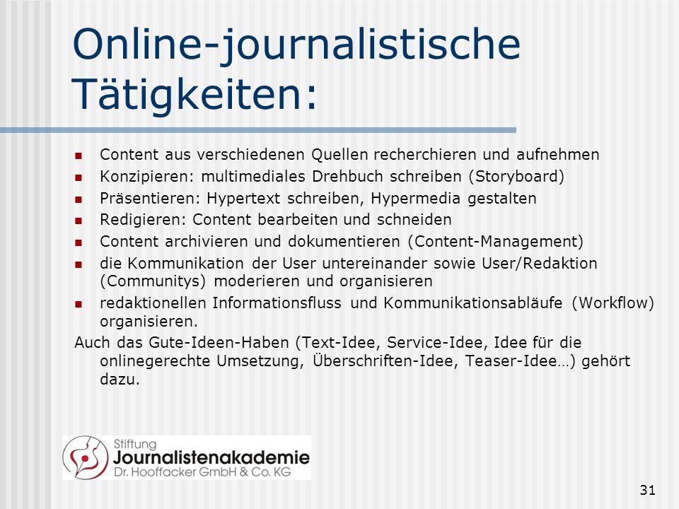 Online-journalistische Tätigkeiten: