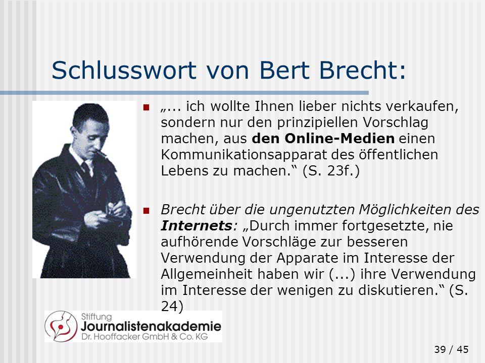Schlusswort von Bert Brecht:
