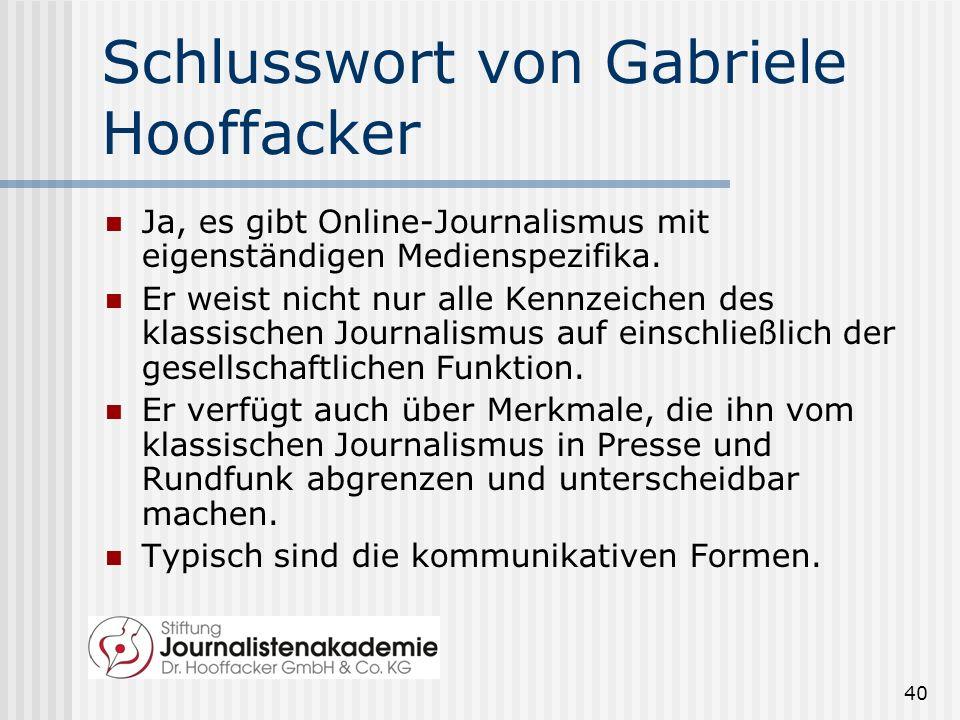 Schlusswort von Gabriele Hooffacker