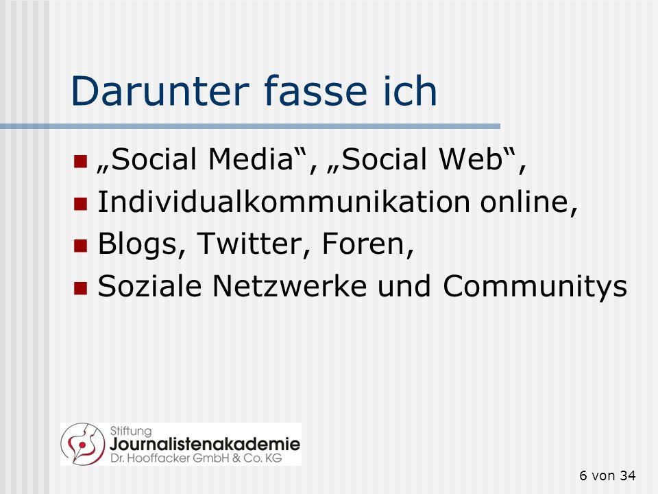 """Darunter fasse ich """"Social Media , """"Social Web ,"""