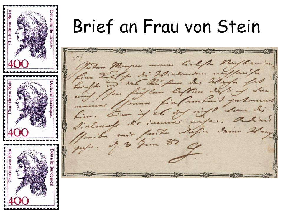 Brief an Frau von Stein