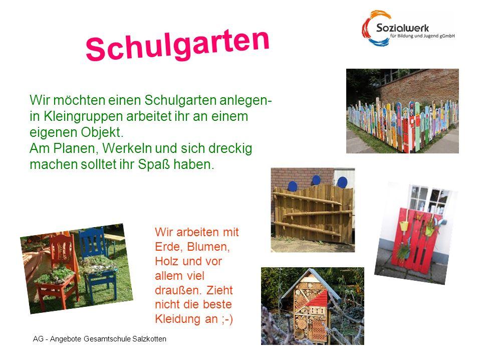 Schulgarten Wir möchten einen Schulgarten anlegen- in Kleingruppen arbeitet ihr an einem eigenen Objekt.
