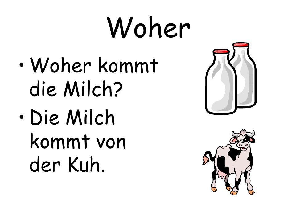 Woher Woher kommt die Milch Die Milch kommt von der Kuh.