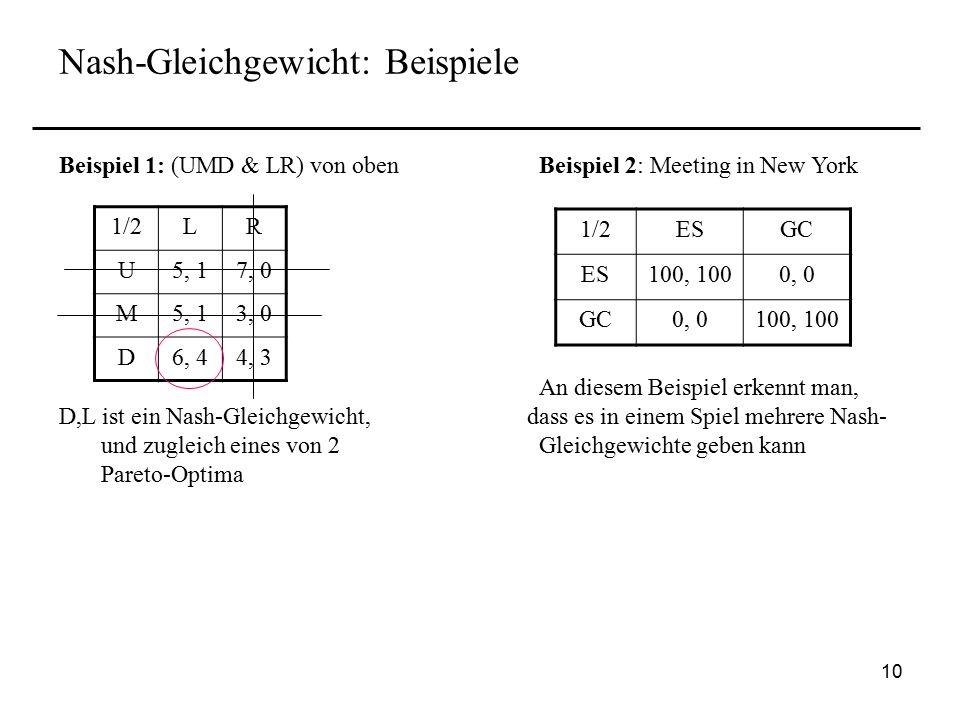 Nash-Gleichgewicht: Beispiele