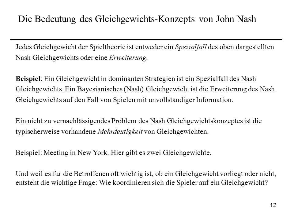 Die Bedeutung des Gleichgewichts-Konzepts von John Nash
