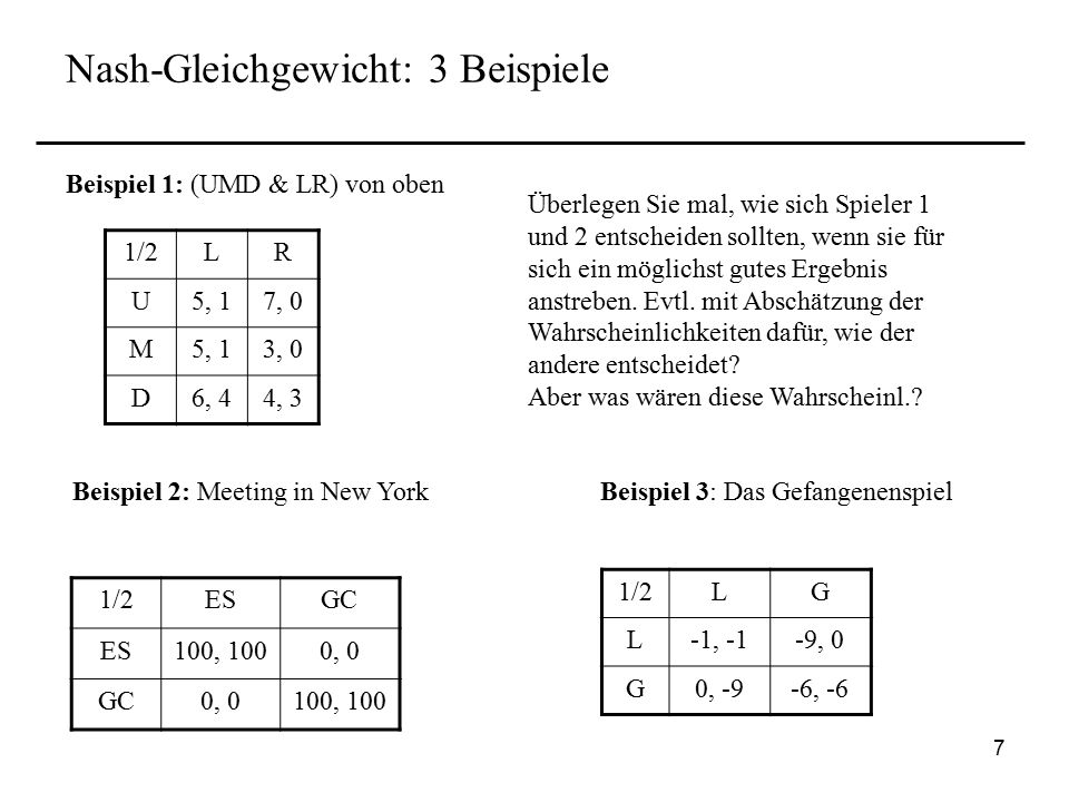 Nash-Gleichgewicht: 3 Beispiele