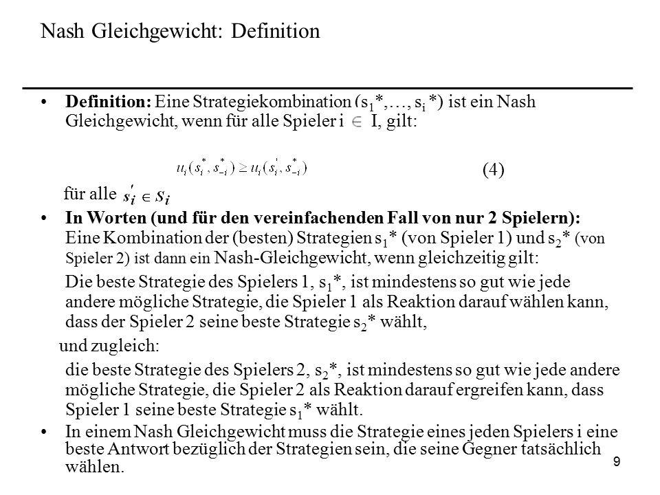 Nash Gleichgewicht: Definition
