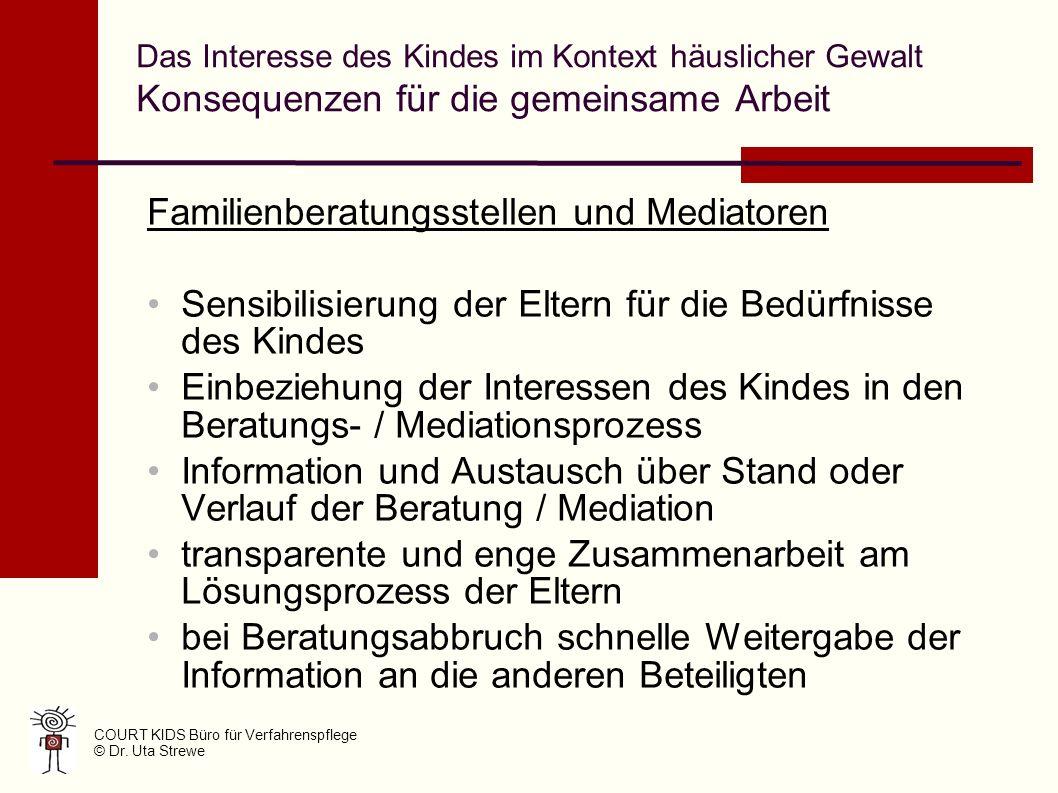 Familienberatungsstellen und Mediatoren