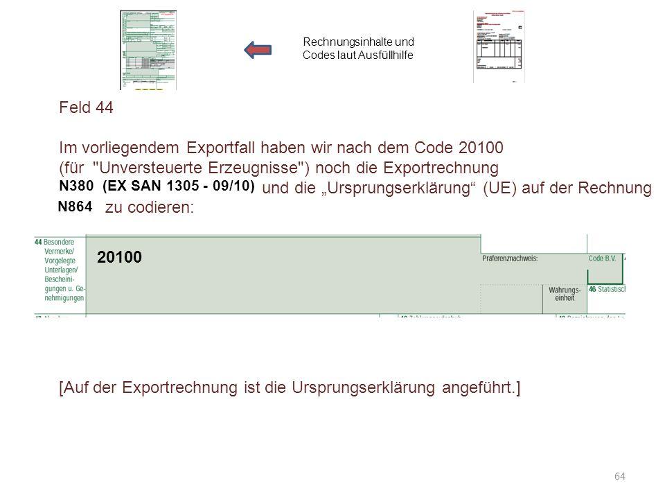 Im vorliegendem Exportfall haben wir nach dem Code 20100