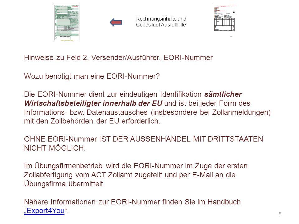 Hinweise zu Feld 2, Versender/Ausführer, EORI-Nummer