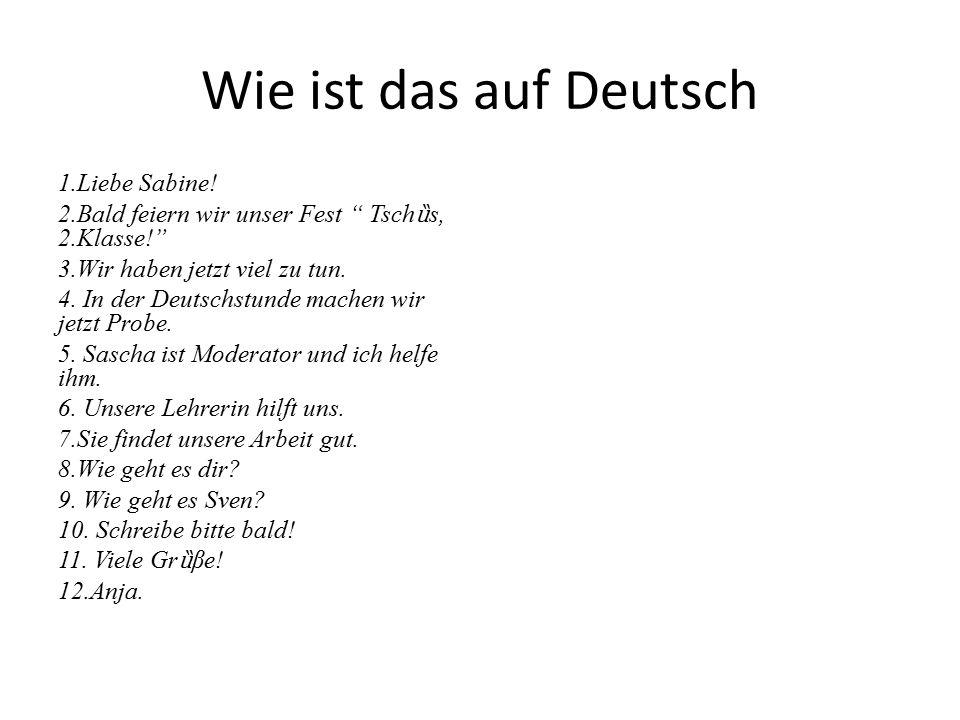 Wie ist das auf Deutsch