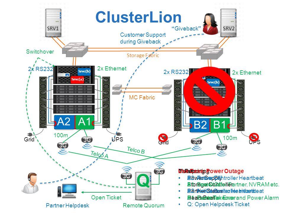 Q ClusterLion A2 A1 B2 B1 SRV1 Giveback SRV2