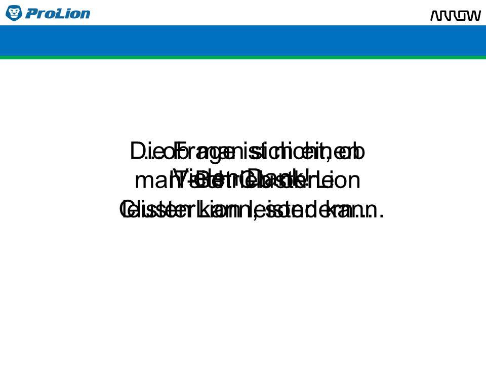 Die Frage ist nicht, ob man sich ClusterLion leisten kann, sondern...