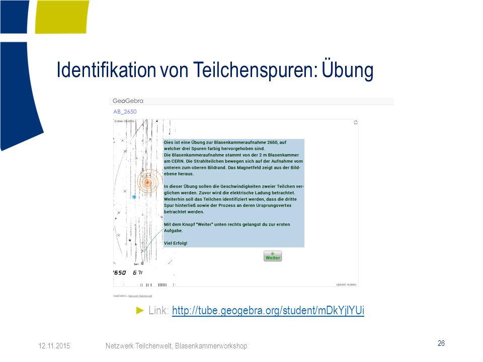 Identifikation von Teilchenspuren: Übung